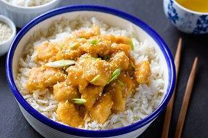 Chicken with rice in a bowl