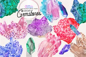 Natural Gemstones Watercolor