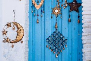 Blue wood door from Mediterranean