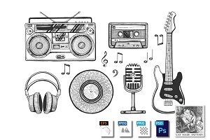 Retro music objects icons set