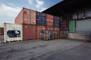 Old Containers and Harbor Warehouse
