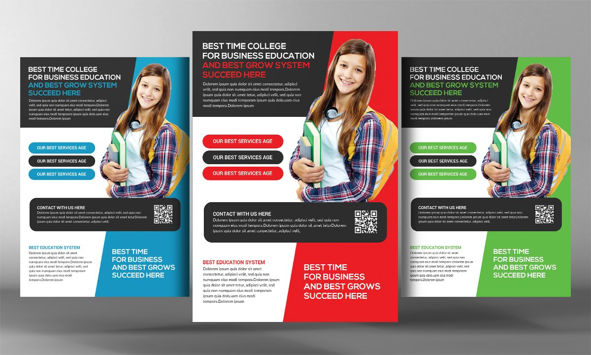High School Education Flyer Flyer Templates Creative Market - High school brochure template