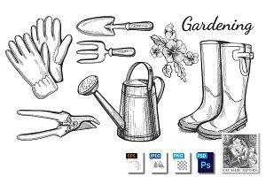 Gardening objects set