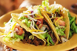 three mexican beef tacos
