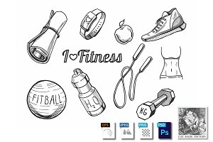Fitness items icons set