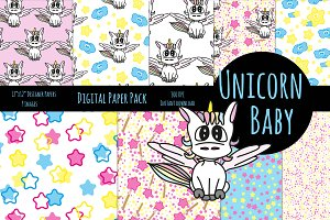 cute Unicorn Baby digital Paper