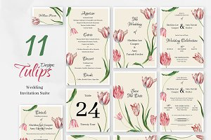 Tulips. Wedding Invitation package