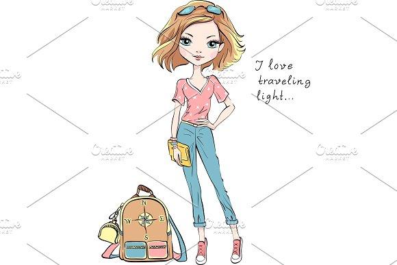 Vector Beautiful Fashion Girl Travels The World