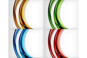 Set of glossy glass waves, vector abstract backgrounds, shiny light effects templates for web banner, business or technology presentation background or elements