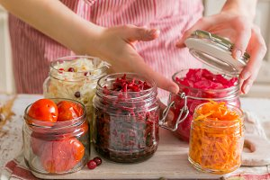 Selection of fermented food - carrot, cabbage, tomatoes, beetroot, copy space