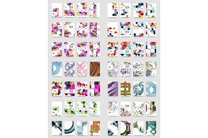 Collection of business annual report brochure templates, A4 size covers created with geometric modern patterns - squares, lines, triangles, waves