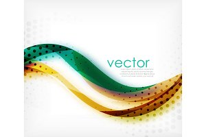 Vector colorful wavy stripe on white background with blurred effects. Vector digital techno abstract background