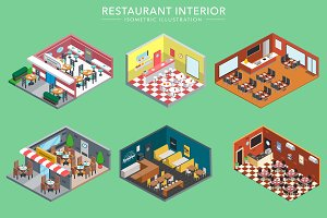 Isometric 3d Restaurant Interiors