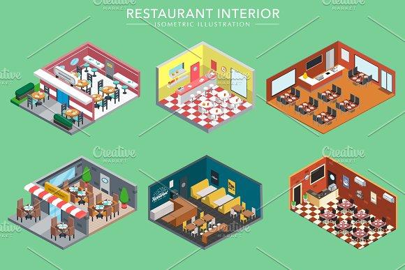 Isometric 3D Restaurant Interiors