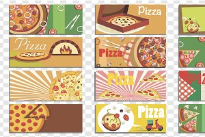 Set of Isolated Pizza Backgrounds