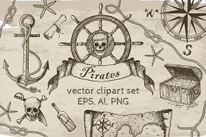 Pirates Vector Clipart Set