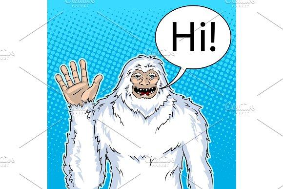 Snowman mythical creature pop art vector