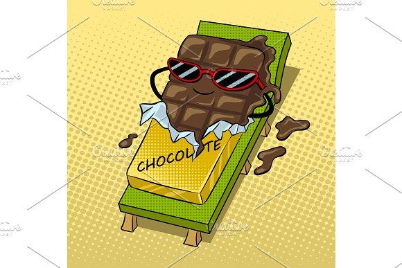 Chocolate melts beach pop art vector illustration