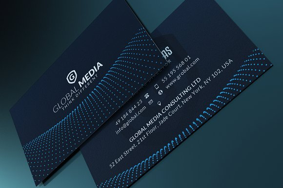 Navy blue business card business card templates creative market wajeb Choice Image