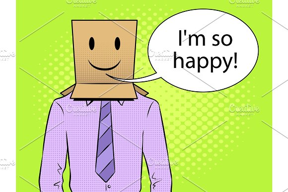 Man with box happy emoji on head pop art vector
