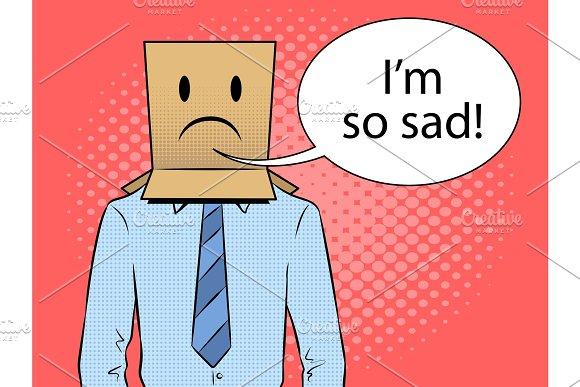 Man with box sad emoji on head pop art vector in Illustrations