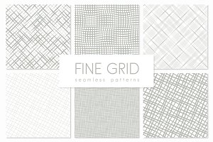 Fine Grid. Seamless Patterns Set