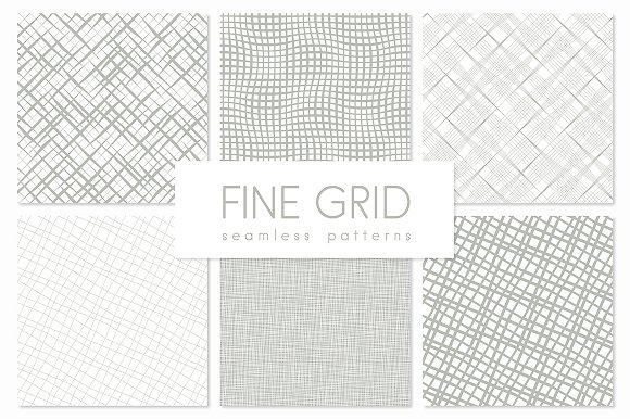 Fine Grid. Seamless Patterns Set