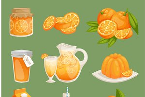 Oranges juice food products vector
