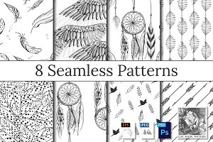 Feather, wings, dreamcatcher pattern