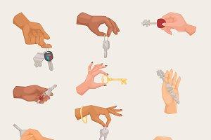 Human vector hand holding keys