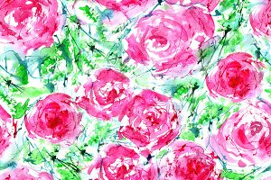 Watercolor roses seamless pattern