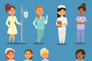 Cartoon woman doctors nurses vector