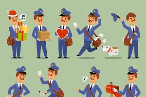 Vector postman cartoon man character