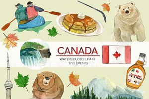 Watercolor Canada Travel Clipart