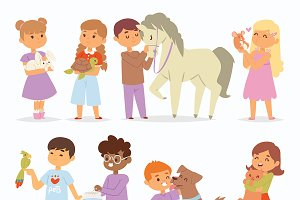 Vector kids charactersand animal pet