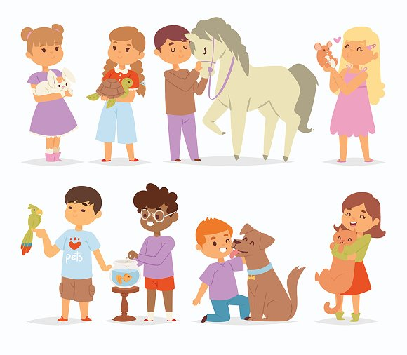 Vector kids charactersand animal pet