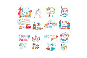 Collection of watercolor promotional symbols with calligraphic letterings of kids club playground.