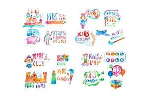 Set of watercolor colorful emblems with calligraphic letterings for kids club