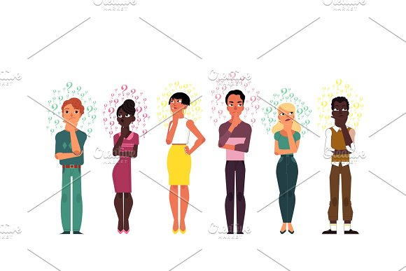 Vector flat people caucasian african thinking set