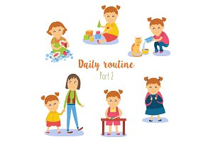 vector flat cartoon kid doing routine activity set