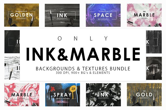 Only Ink Marble Backgrounds Bundle