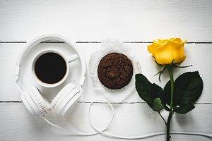 Fragrant coffee, fresh cookies, rose