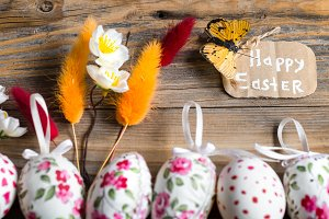 Easter eggs on a wooden background
