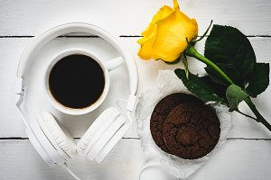 Fragrant coffee, fresh cookies, rose