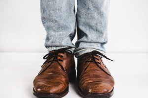 Vintage, brown shoes and jeans
