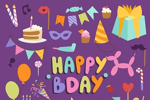 Happy birthday party vector symbols