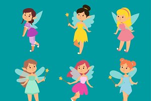 Fairy princesses girl cute vector