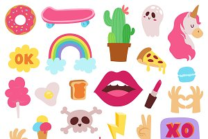 Girl fashion symbols vector stickers