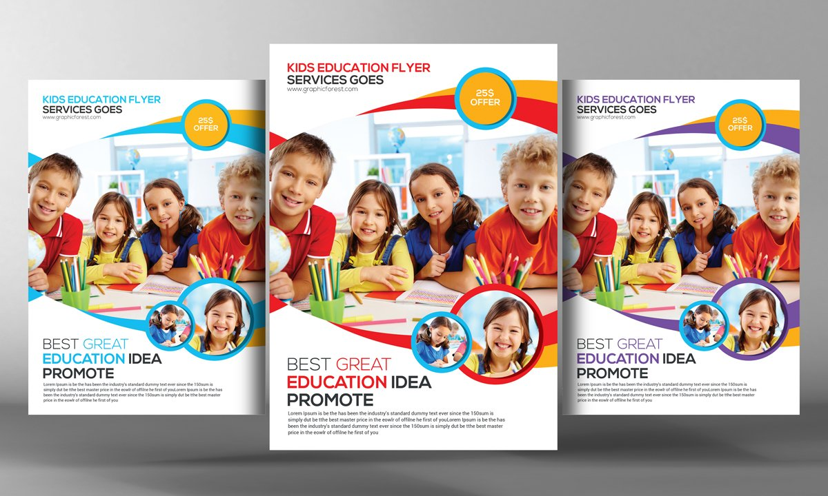 Kids school education flyer flyer templates creative for Free brochure templates for students