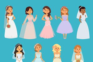 Wedding brides vector girl character